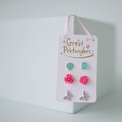 Rose Studded Earrings 3sets