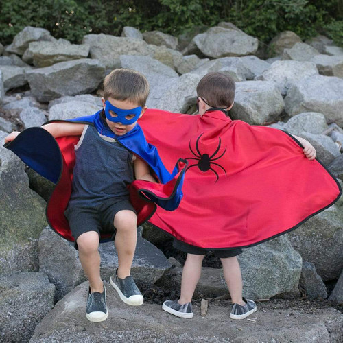 Blue and Red Reversible Superhero Cape