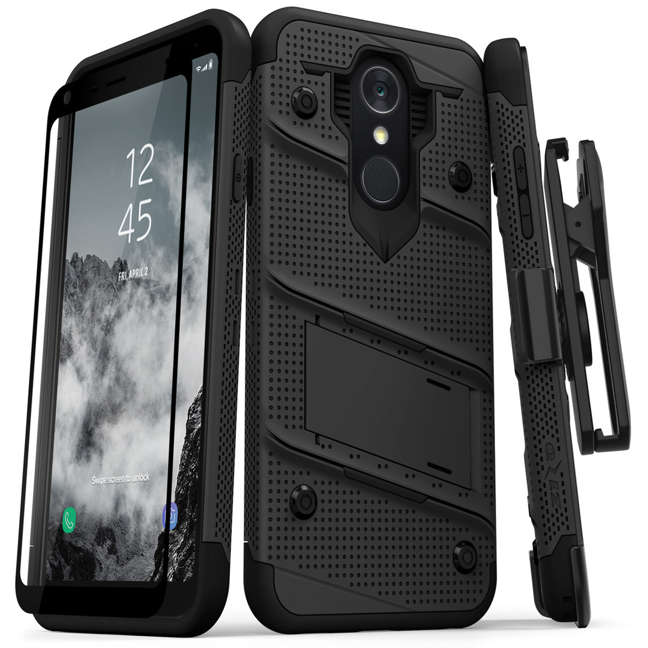 Zizo LG Q7+Plus Bolt Rugged Holster Case And Tempered Glass Protection