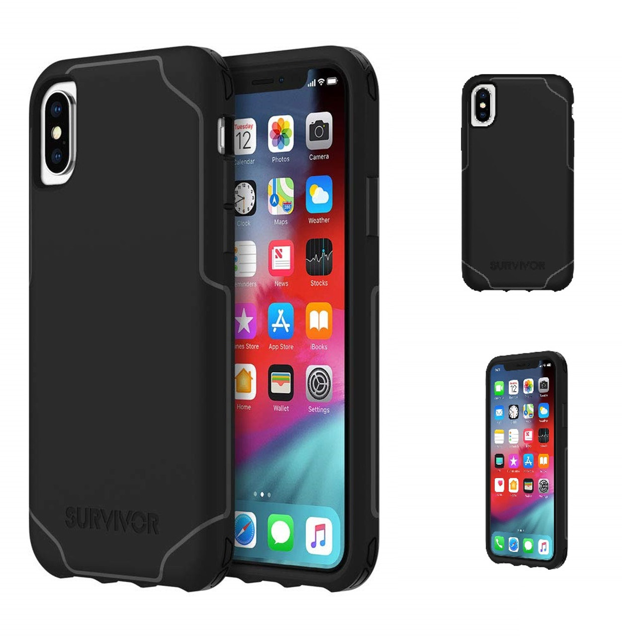 new style 54e23 83f6e Griffin IPhone X/XS Survivor Strong Military Grade Drop Protection Cover  Case | Black
