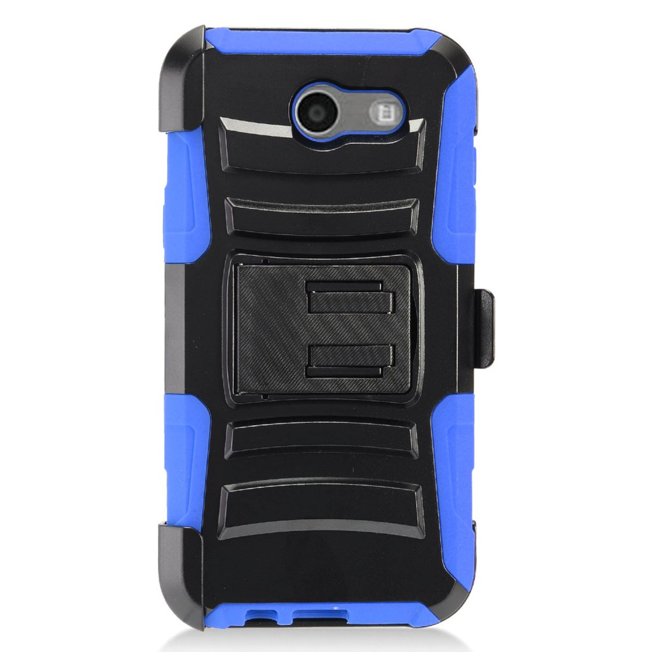 Holster Hybrid Combo Armor With Swivel Kick Stand Blue/Black Cover Case For  Samsung Galaxy J3 (2017)/ J3 Emerge/ J3 Luna Pro /J327 (Boost Mobile/