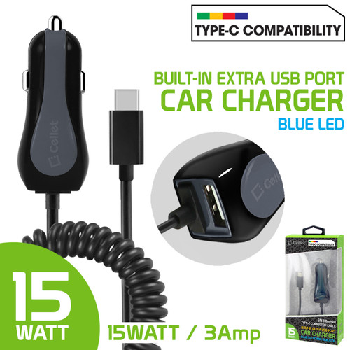 High Powered 3 Amp /15 Watt Type-C USB Car Charger with