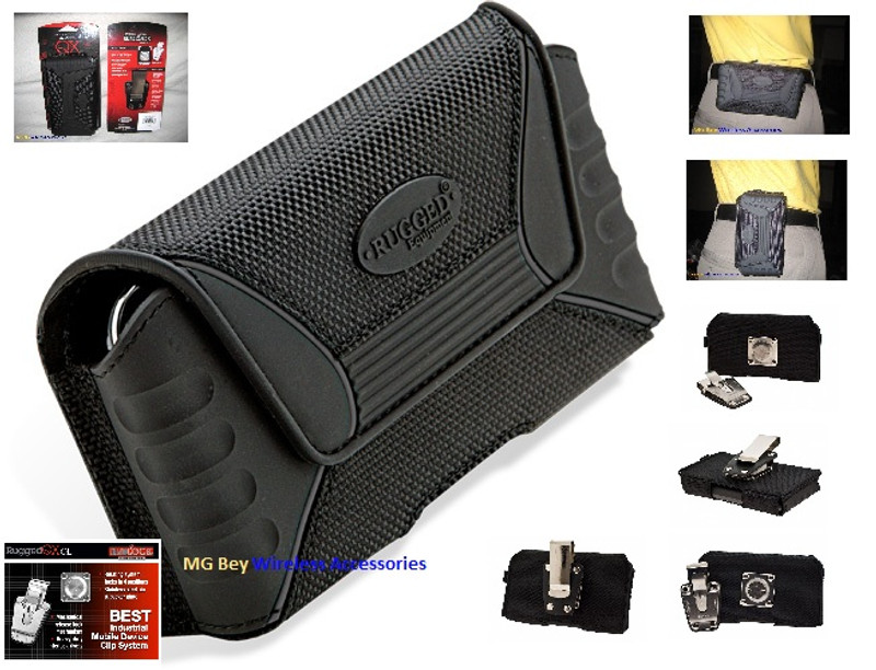 Pouch Holster Rugged QX [NXT] Extra Large Black Heavy Duty Horizontal /  Vertical Indestructible Design (Triple armored) Magnetic front Closure