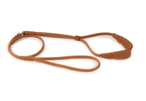 Dapper Dogs Comfort Show Lead Round Leather S Tan Leather Comfort Lead For Dogs