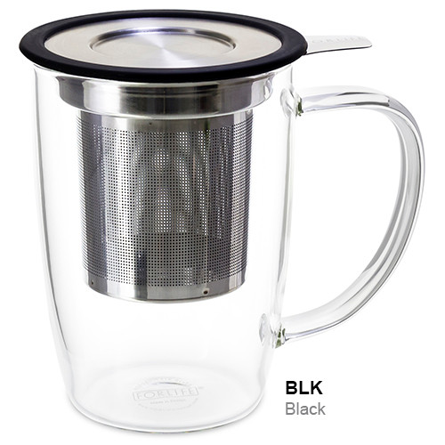 Mug, Infuser Glass 16 oz. Black
