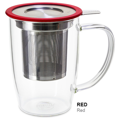 Mug, Infuser Glass 16 oz. Red