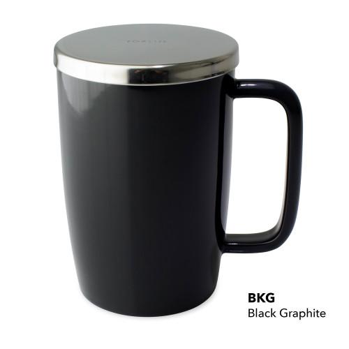 Mug, Infuser Dew 18 oz. Black Graphite Glossy