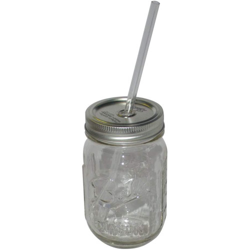 Mug, Glass (Ball) Sipper with Lid/Straw