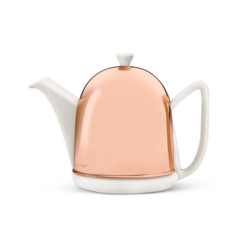 Teapot, 34 FL.OZ. Ceramic/  Copper Spring White Manto