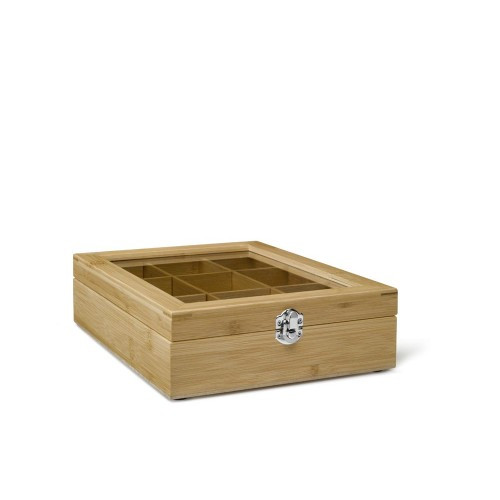 Tea box, 9 Compartment with Window Bamboo