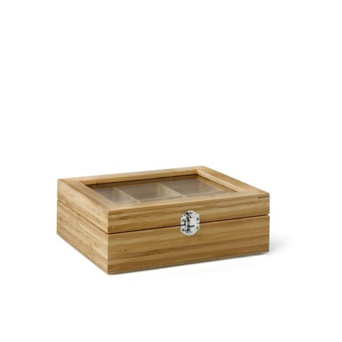 Tea box, 6 Compartment with Window Bamboo