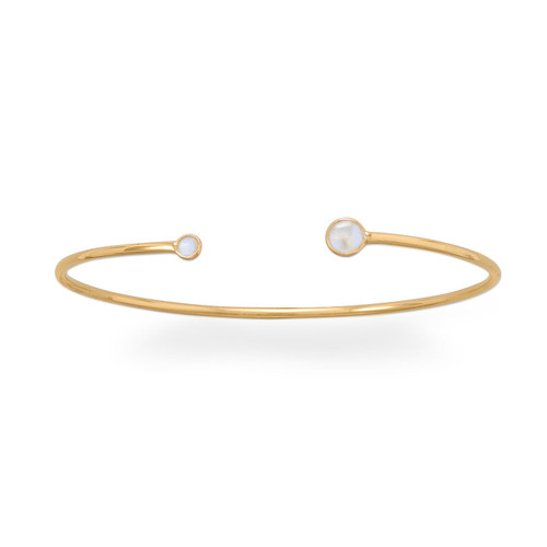 Dainty Moonstone Cuff - 14kt Gold