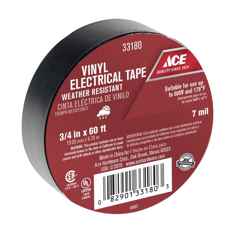 3/4 FOOT WIDE x 60 FOOT LONG  BLACK VINYL ELECTRICAL Tape