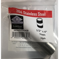 Smith-Cooper 1/2 in. MPT x 4 in. L Stainless Steel Nipple