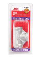 Smith-Cooper 1/8 in. FPT x 1/8 in. Dia. FPT Stainless Steel Tee