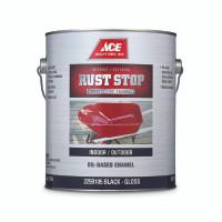 Rust Stop Indoor / Outdoor Gloss Black Oil-Based Enamel Paint 1 gal.