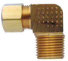 Ace 1/4 in. Compression x 1/4 in. Dia. MPT Yellow Brass Elbow