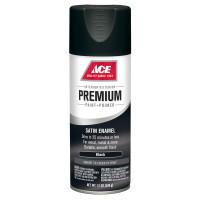 Ace Premium Satin Black Enamel Spray Paint 12 ounce