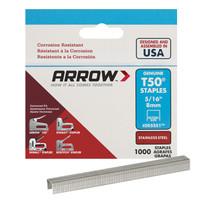Arrow Fastener T50 3/8 in. W x 5/16 in. L 18 Ga. Flat Crown Heavy Duty Staples 1000 pk