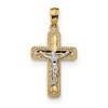 Lex & Lu 14k Two-tone Gold Polished Crucifix Pendant LAL102644-Lex & Lu
