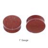 "Lex & Lu Pair of Double Flare Genuine Gold Stone Organic Ear Plugs 10G-1"" Gauge-5-Lex & Lu"