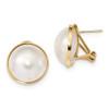 Lex & Lu 14k Yellow Gold 14-15mm White Mabe FWC Pearl Omega Back Earrings-Lex & Lu