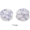 "Lex & Lu Pair of Double Flare Genuine Howlite Stone Organic Ear Plugs 10G-1"" Gauge-5-Lex & Lu"