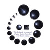 "Lex & Lu Pair of Genuine Black Agate Double Flare Stone Organic Ear Plugs 10G-1"" Gauge-2-Lex & Lu"