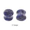 "Lex & Lu Pair of Genuine Sodalite Double Flare Stone Organic Ear Plugs 10G-1"" Gauge-4-Lex & Lu"