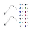 Lex & Lu Pair of Steel Crystal CZ Gem Nose Screw Ring Stud Body Piercing 20 Gauge-2-Lex & Lu
