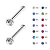 Lex & Lu Pair Of Steel Crystal CZ Gem Nose Bone Stud Ring Body Piercing 20 Gauge-2-Lex & Lu