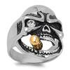Lex & Lu Men's Fashion Stainless Steel Skull Biker Ring w/Sm Gem Eye and Cigar-Lex & Lu