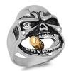 Lex & Lu Men's Fashion Stainless Steel Skull Biker Ring w/Sm Gem Eye and Cigar-2-Lex & Lu