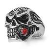 Lex & Lu Men's Fashion Stainless Steel Skull Biker Ring w/Red Rose in Mouth-Lex & Lu