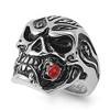 Lex & Lu Men's Fashion Stainless Steel Skull Biker Ring w/Red Rose in Mouth-2-Lex & Lu