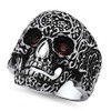 Lex & Lu Men's Fashion Stainless Steel Skull Biker Ring w/Red Gem Eyes-2-Lex & Lu