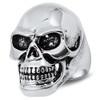 Lex & Lu Men's Fashion Stainless Steel Skull Biker Ring w/Black Eyes-Lex & Lu