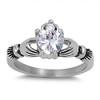 Lex & Lu Ladies Fashion Stainless Steel Claddagh Ring w/Gem heart-Lex & Lu
