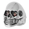Lex & Lu Men's Fashion Stainless Steel Skull Biker Ring w/2 Red Gem Eyes-Lex & Lu