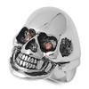 Lex & Lu Men's Fashion Stainless Steel Skull Biker Ring w/2 Red Gem Eyes-2-Lex & Lu