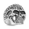 Lex & Lu Men's Fashion Stainless Steel Skull Biker Ring w/2 Black Eyes-Lex & Lu