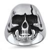 Lex & Lu Men's Fashion Stainless Steel Skull Biker Ring w/Cracked Skull-Lex & Lu