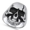Lex & Lu Men's Fashion Stainless Steel Skull Biker Ring w/Cracked Skull-2-Lex & Lu