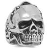 Lex & Lu Men's Fashion Stainless Steel Skull Biker Ring w/Stitched Helmet-Lex & Lu