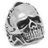 Lex & Lu Men's Fashion Stainless Steel Skull Biker Ring w/Stitched Helmet-2-Lex & Lu