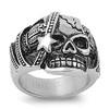 Lex & Lu Men's Fashion Stainless Steel Skull Biker Ring w/Star on Face-Lex & Lu