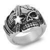 Lex & Lu Men's Fashion Stainless Steel Skull Biker Ring w/Star on Face-2-Lex & Lu