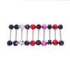 "Lex & Lu 10 Pack Steel Barbell 14 Gauge 5/8"" Long  w/Acrylic Polka Dotted Balls-Lex & Lu"