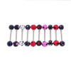 "Lex & Lu 10 Pack Steel Barbell 14 Gauge 5/8"" Long  w/Acrylic Polka Dotted Balls-2-Lex & Lu"