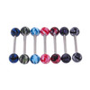 "Lex & Lu 7 Pack Steel Barbell 14 Gauge 5/8"" Long w/Acrylic Painted Picture Balls-Lex & Lu"